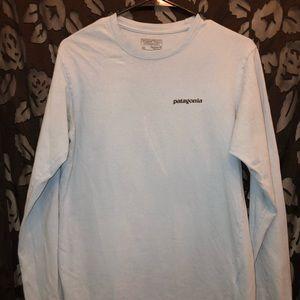 blue long sleeve Patagonia t-shirt